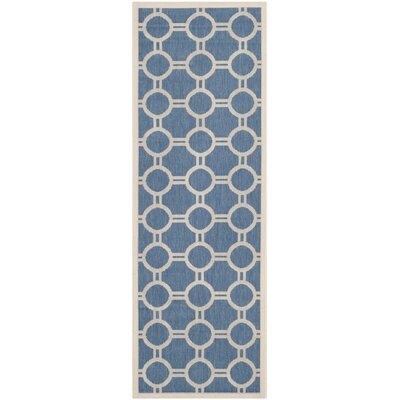 Jefferson Place Blue & Beige Outdoor Area Rug Rug Size: Runner 23 x 67