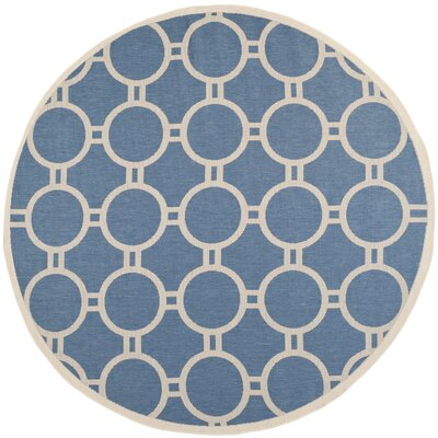 Jefferson Place Blue & Beige Outdoor Area Rug Rug Size: Round 710