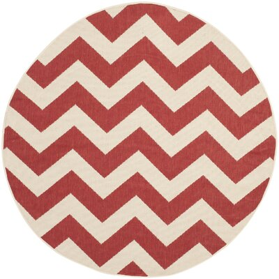 Jefferson Place Red Indoor/Outdoor Area Rug Rug Size: Round 67