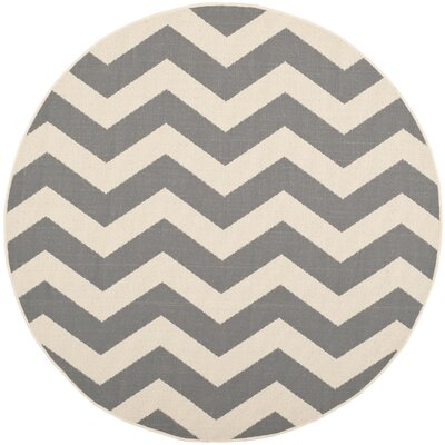 Jefferson Place Gray/Beige Indoor/Outdoor Area Rug Rug Size: Round 710
