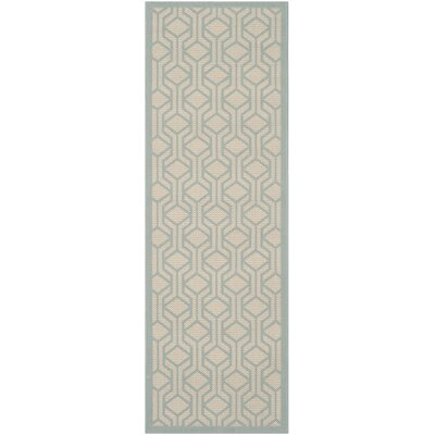Jefferson Place Beige / Aqua Indoor/Outdoor Rug Rug Size: Runner 23 x 67