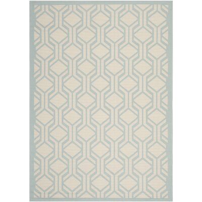 Jefferson Place Beige / Aqua Indoor/Outdoor Rug Rug Size: 67 x 96