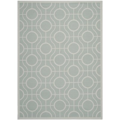 Jefferson Place Aqua / Light Grey Indoor/Outdoor Rug Rug Size: Rectangle 53 x 77