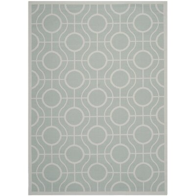 Jefferson Place Aqua / Light Grey Indoor/Outdoor Rug Rug Size: 67 x 96