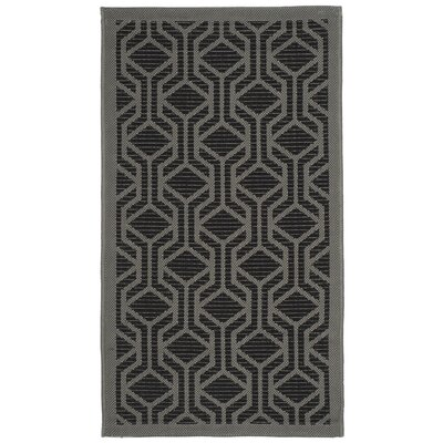Jefferson Place Black / Anthracite Geometric Rug Rug Size: Rectangle 4 x 57