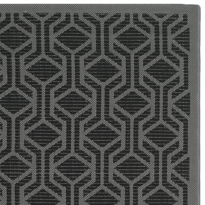 Jefferson Place Black / Anthracite Geometric Rug Rug Size: Rectangle 27 x 5