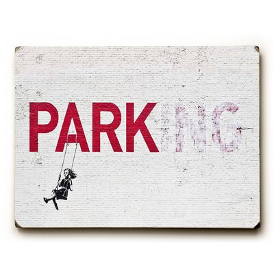 Parking Graphic Art on Wood