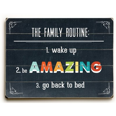 Family Routine Textual Art Plaque Size: 12