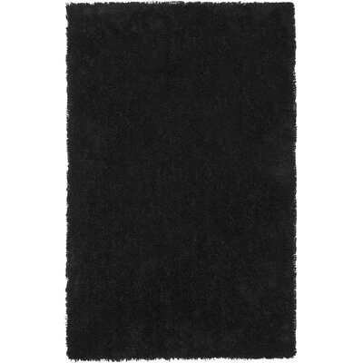 Holliday Solid Black Area Rug Rug Size: Round 6