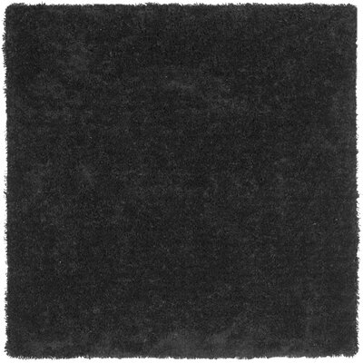 Holliday Solid Black Area Rug Rug Size: Square 7
