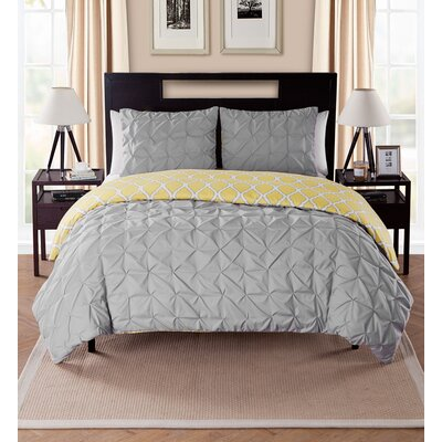 Joplin Reversible Duvet Set Color: Charcoal, Size: King