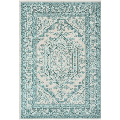 Nicki Ivory/Teal Area Rug Rug Size: Rectangle 51 x 76