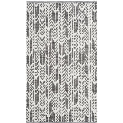 Paz Hand-Woven Charcoal/Ivory Area Rug Rug Size: Rectangle 3 x 5