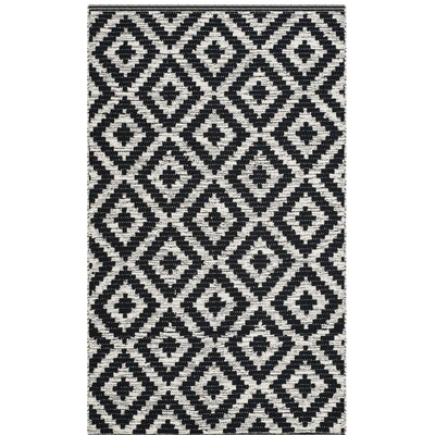 Harlow Hand-Woven Black/Ivory Area Rug Rug Size: Rectangle 3 x 5
