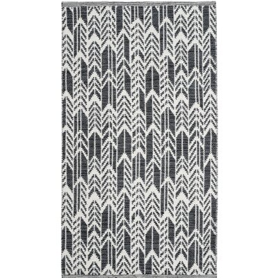 Paz Hand-Woven Black/Ivory Area Rug Rug Size: Rectangle 3 x 5