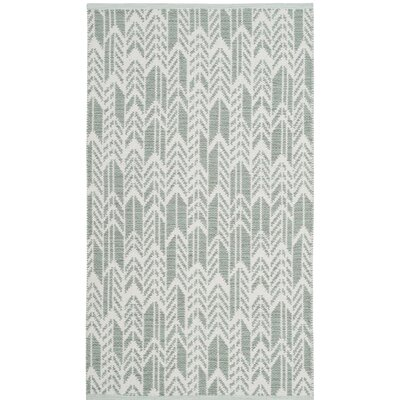 Paz Hand-Woven Light Green/Ivory Area Rug Rug Size: 3 x 5