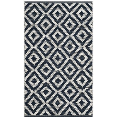 Harlow Hand-Woven Navy/Ivory Area Rug Rug Size: Rectangle 8 x 10