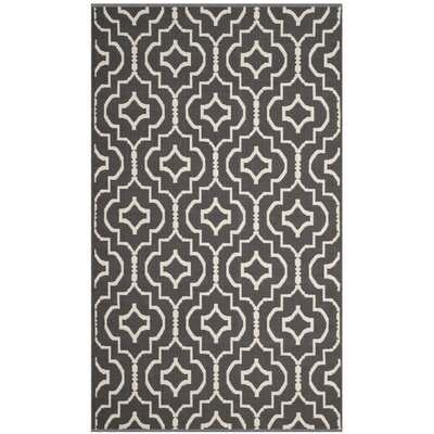Rennie Hand-Woven Dark Gray/Ivory Area Rug Rug Size: Rectangle 2'6