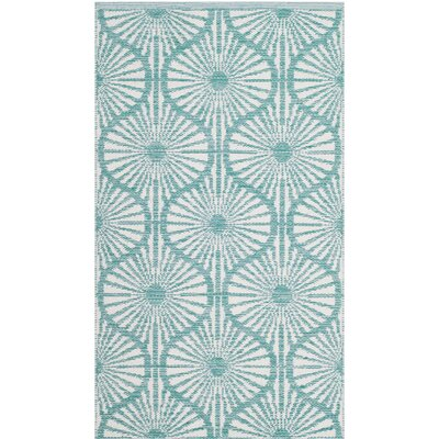 Oak Hill Hand-Woven Aqua/Ivory Area Rug Rug Size: Rectangle 3 x 5