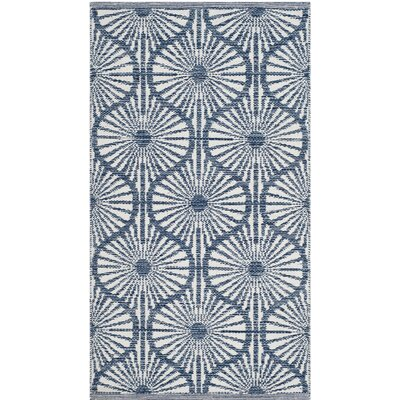 Oak Hill Hand-Woven Navy/Ivory Area Rug Rug Size: Rectangle 5 x 8