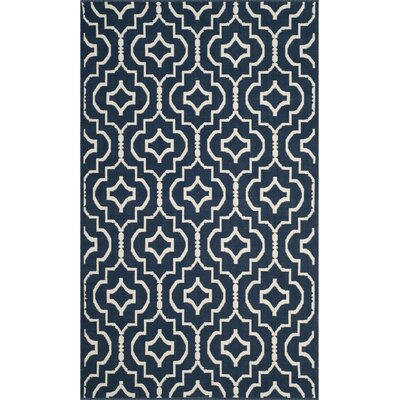 Rennie Hand-Woven Navy/Ivory Area Rug Rug Size: Rectangle 26 x 4
