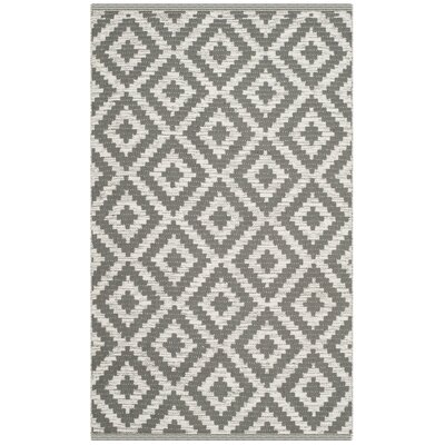 Higbee Hand-Woven Gray/Ivory Area Rug Rug Size: Rectangle 3 x 5