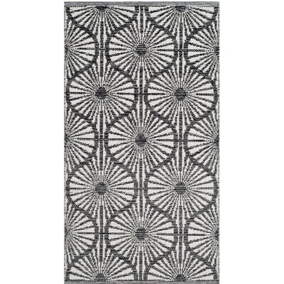 Oak Hill Hand-Woven Black/Ivory Area Rug Rug Size: 5 x 8