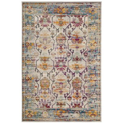 Aponte Cream/Teal Area Rug Rug Size: Rectangle 5 x 8