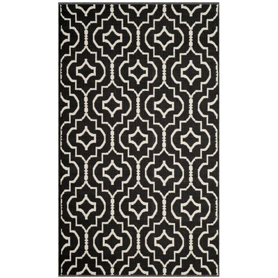 Rennie Hand-Woven Black/Ivory Area Rug Rug Size: Rectangle 2'6
