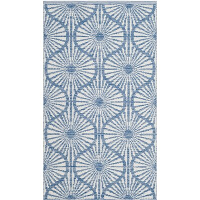 Oak Hill Hand-Woven Blue/Ivory Area Rug Rug Size: Rectangle 3 x 5