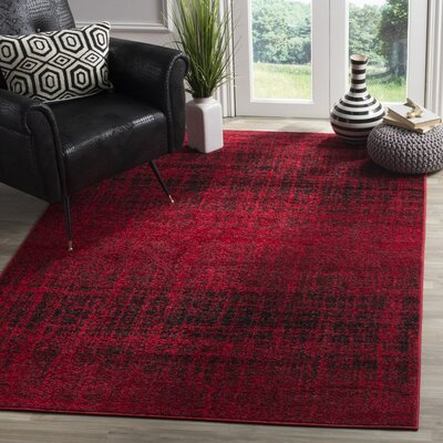 Schacher Red/Black Area Rug Rug Size: Round 4