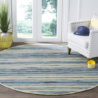 Shinn Hand-Woven Ivory/Blue Area Rug Rug Size: Round 6