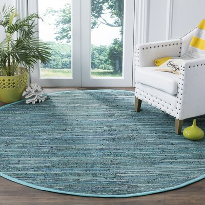Shatzer Hand-Woven Turquoise Area Rug Rug Size: Round 6