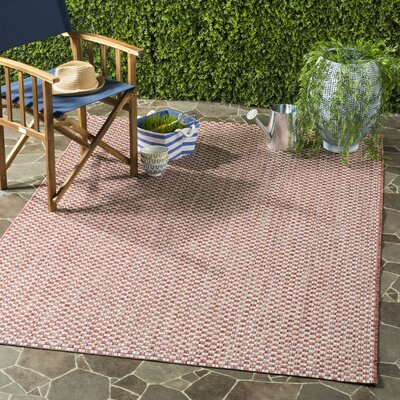 Jefferson Place Rust/Light Gray Outdoor Area Rug Rug Size: Runner 23 x 12