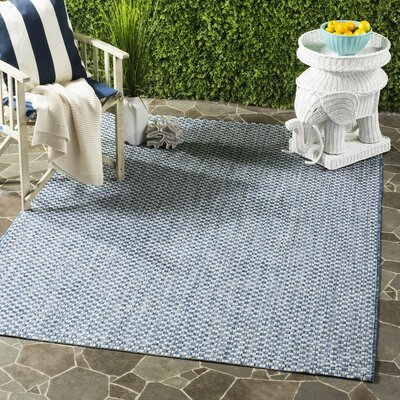 Jefferson Place Blue/Light Gray Outdoor Area Rug Rug Size: 53 x 77, Rug Size: 53 x 77