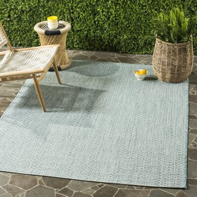 Jefferson Place Light Blue/Light Grey Outdoor Area Rug Rug Size: Round 67