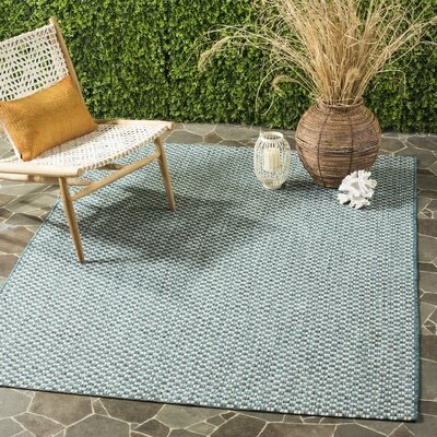 Jefferson Place Turquoise/Light Gray Outdoor Area Rug Rug Size: 53 x 77