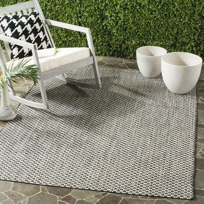Jefferson Place Black/Light Gray Outdoor Area Rug Rug Size: 53 x 77