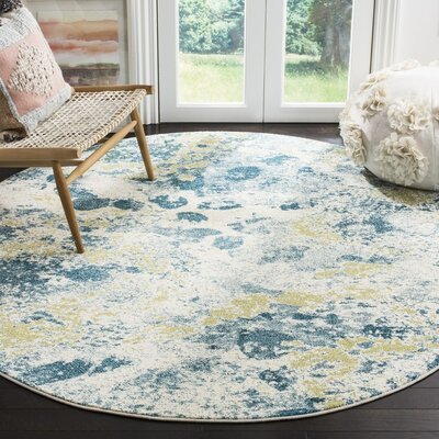 Seyler Beige/Blue Area Rug Rug Size: Rectangle 53 x 76