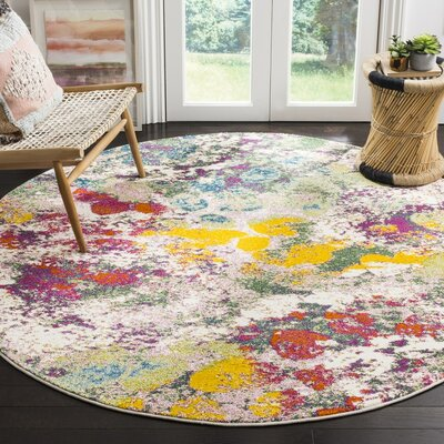 Shankle Green/Red Area Rug Rug Size: Round 67