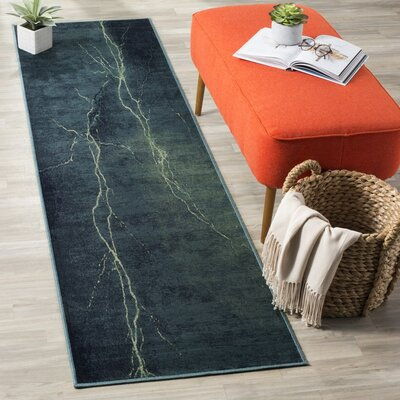 Stave Turquoise Area Rug Rug Size: 67 x 92