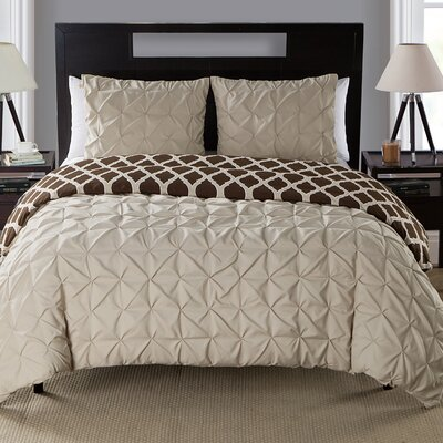 Joplin Reversible Duvet Set Color: Taupe, Size: Queen