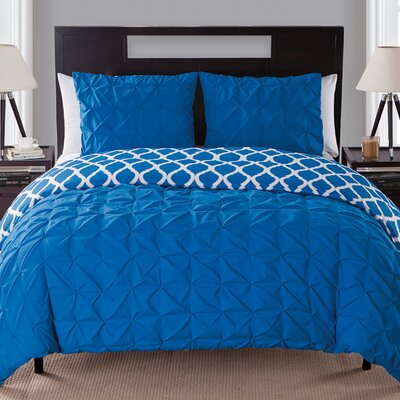 Olveston Reversible Duvet Set Color: Navy, Size: Queen
