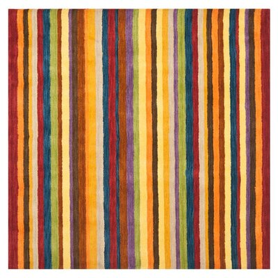 Bolick Hand Woven Wool Yellow/Brown/Orange Area Rug Rug Size: Square 4