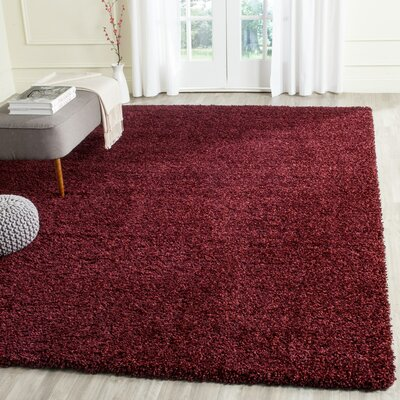 Aranda Flokati Maroon Area Rug Rug Size: Rectangle 67 x 96