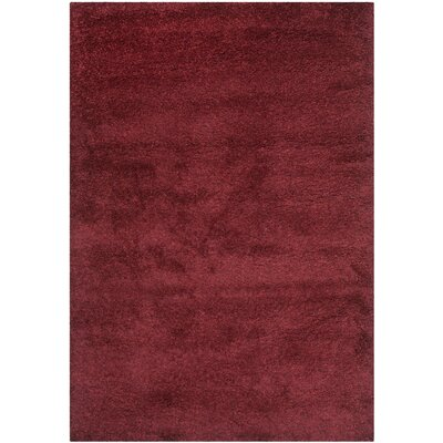 Holliday Flokati Maroon Area Rug Rug Size: 53 x 76