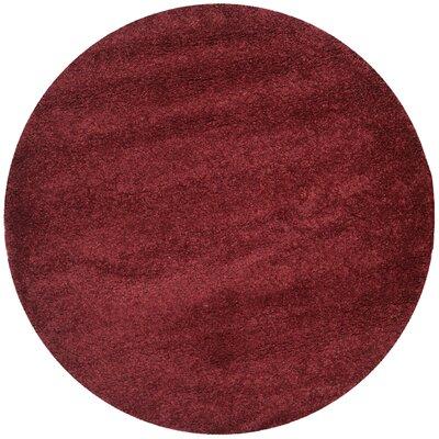 Aranda Flokati Maroon Area Rug Rug Size: Round 67
