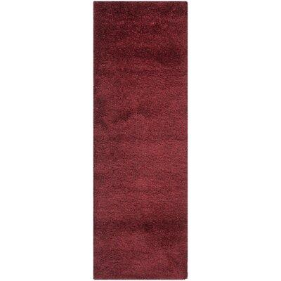 Aranda Flokati Maroon Area Rug Rug Size: Runner 23 x 7