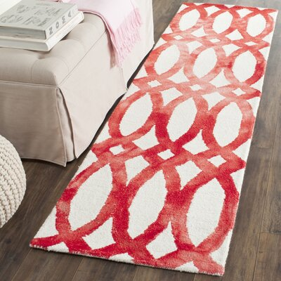 Skiles Ivory/Red Area Rug Rug Size: Runner 23 x 8