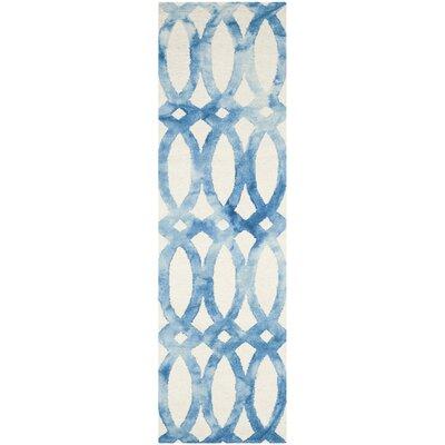 Edie Ivory/Blue Area Rug Rug Size: Runner 23 x 8
